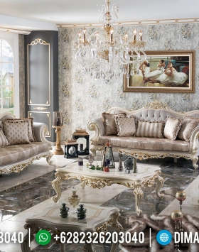 Furniture Jepara Mewah Sofa Tamu Luxury Classic White Duco Gold Combination BT-0368