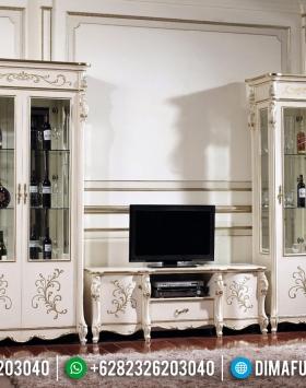 Set Bufet TV Mewah Lemari Hias Kaca Dan Meja TV Putih Duco Kombinasi BT-0346