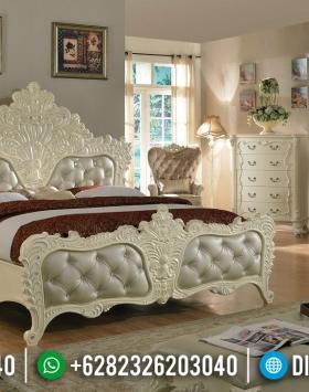 Tempat Tidur Mewah Jepara Ukiran Klasik Putih Duco BT-0351