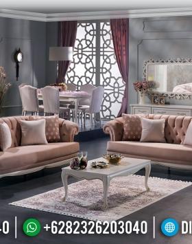 Desain Sofa Tamu Mewah Cantik Pink Furniture Jepara Kekinian BT-0414
