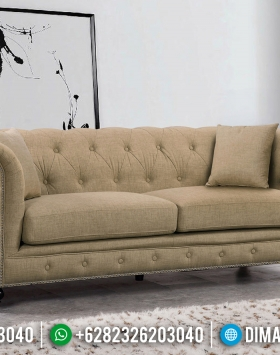 Furniture Jepara Sofa tamu Chesterfield Minimalis Cream Canvas Fabric BT-0438