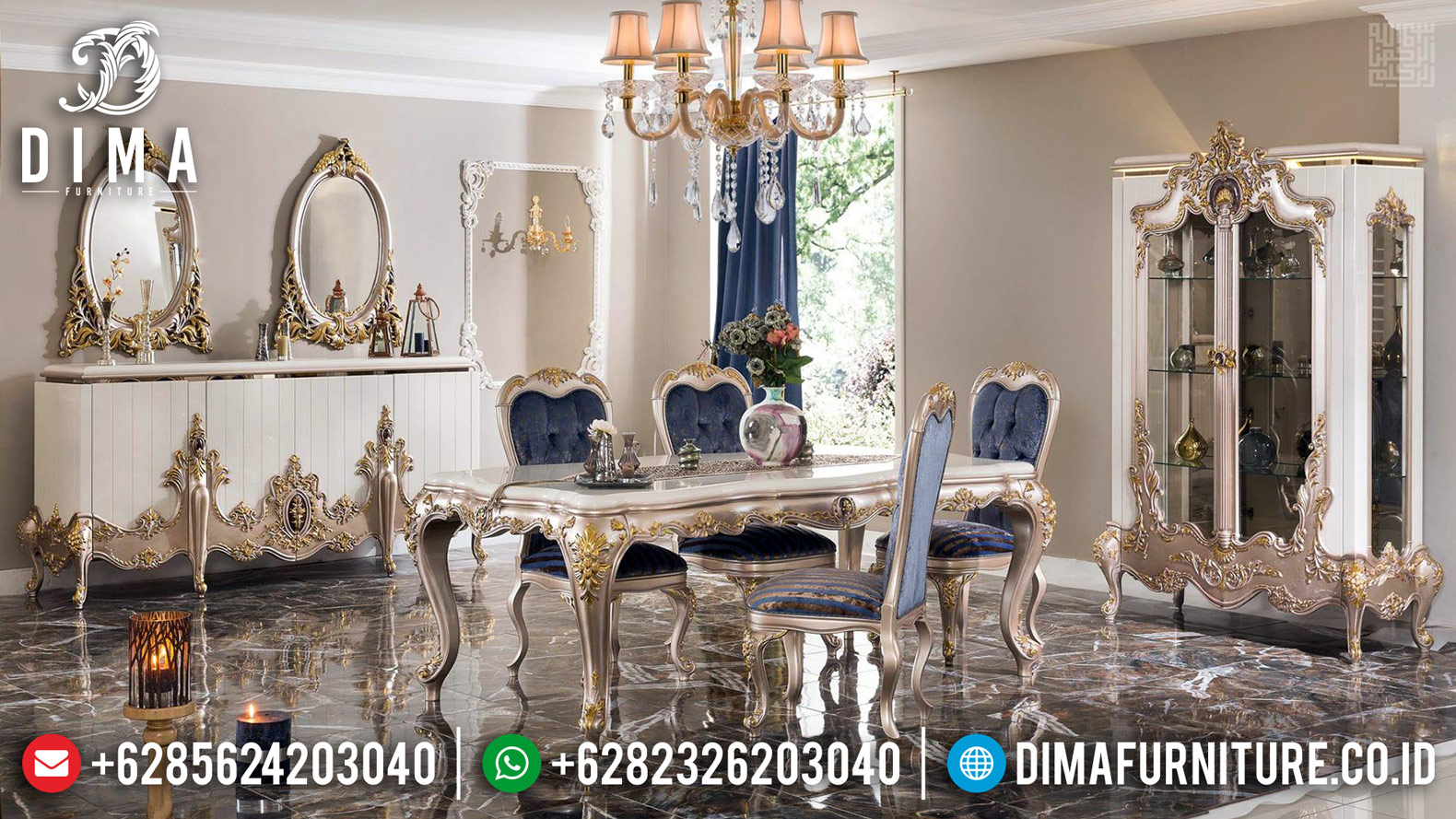 Meja Makan Mewah Elegan Superior Luxury White Duco Golden Combination BT-0375