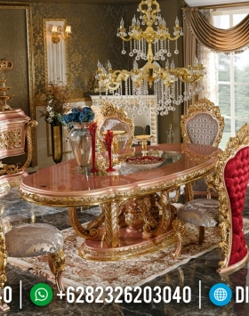 New Meja Makan Mewah Golden Stones Konsep Interior Design Luxurian BT-0415
