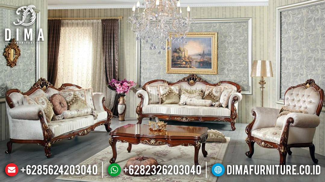 Furniture Jepara Elegant Sofa Tamu Jati Classic Natural Ukiran Emas BT-0558