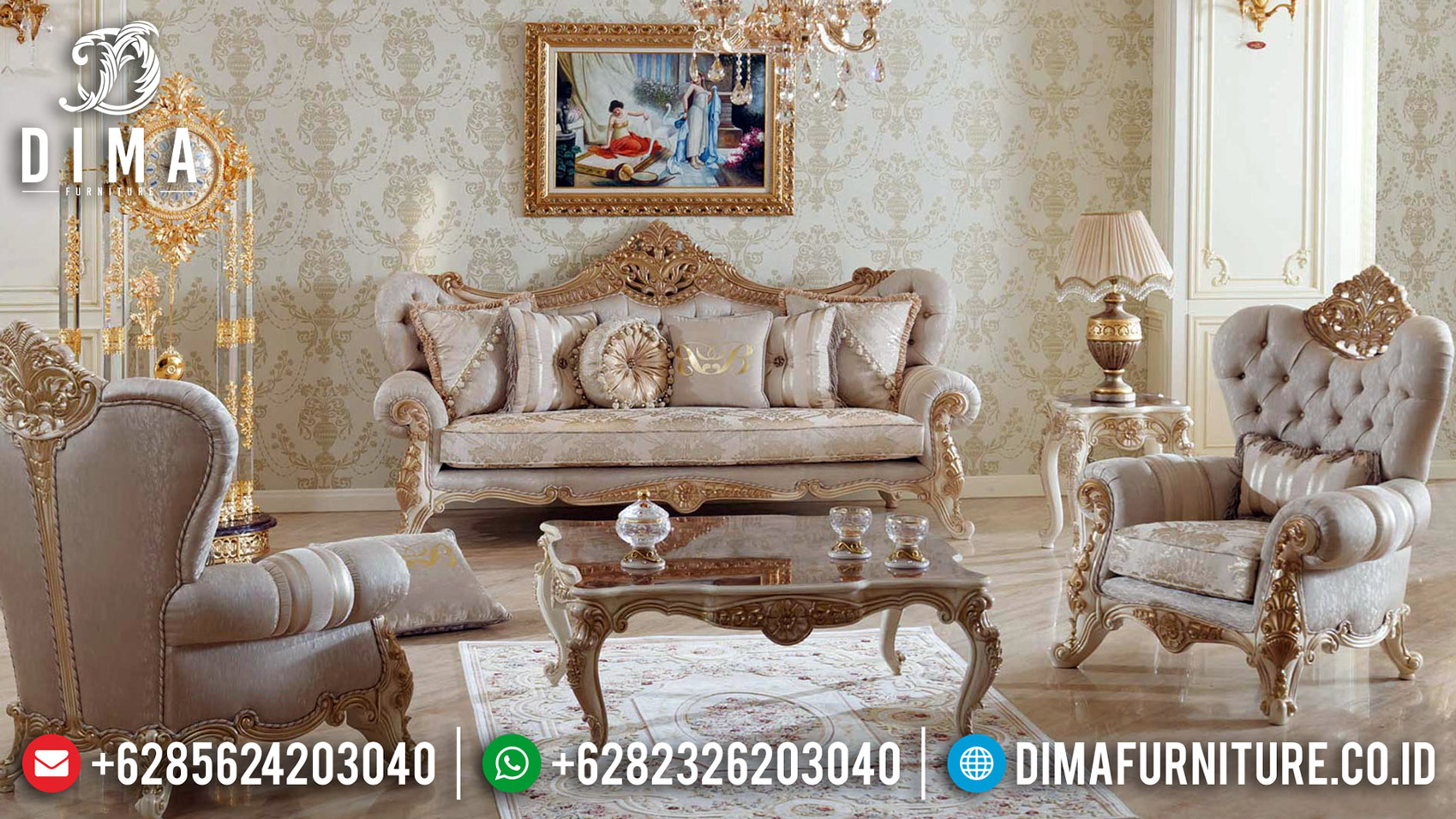 Furniture Jepara Elegant Sofa Tamu Mewah Mahkota Ukir Luxury Carving Jepara BT-0572