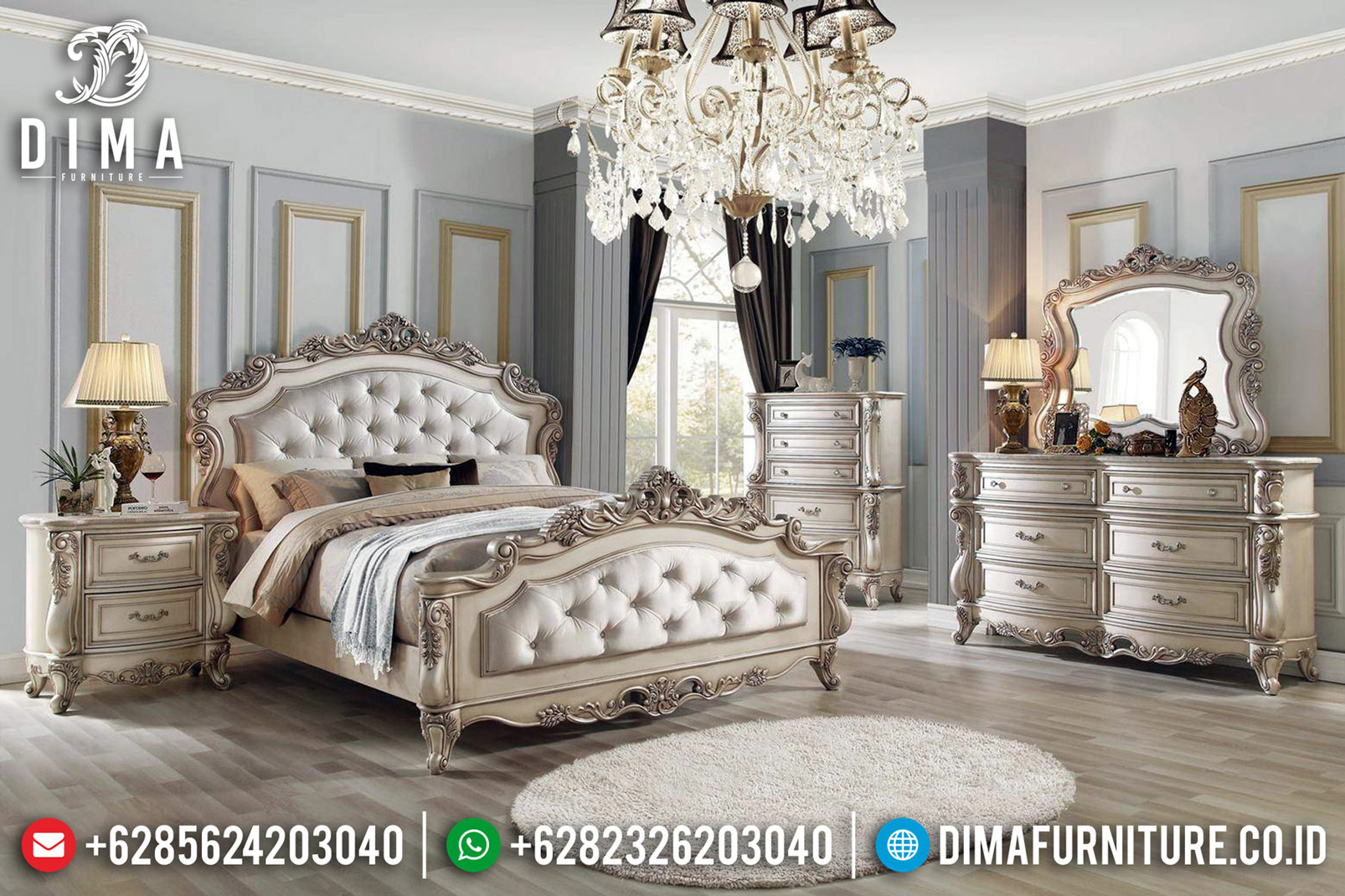 Jual Kamar Set Mewah Ukiran Classic White Ivory Furniture Jepara BT-0559