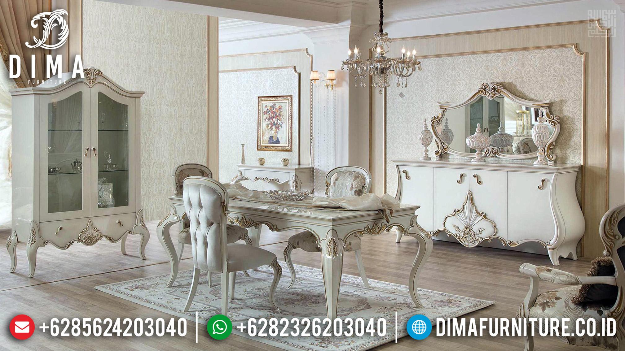 Meja Makan Mewah Jepara White Camonic Duco Color BT-0479