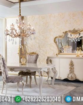 Meja Makan Mewah Putih Ivory Duco Luxury Carving Design BT-0528