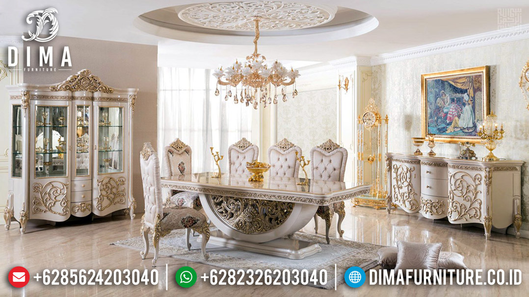 Meja Makan Ukiran Mewah Luxury Carving Jepara New Design BT-0481