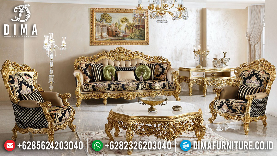 New Models Sofa Tamu Mewah Jepara Luxury Golden Classy Versace BT-0455