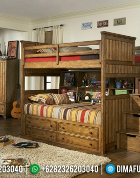 Tempat Tidur Anak Jati Natural Dipan Tingkat Minimalis Jepara BT-0546