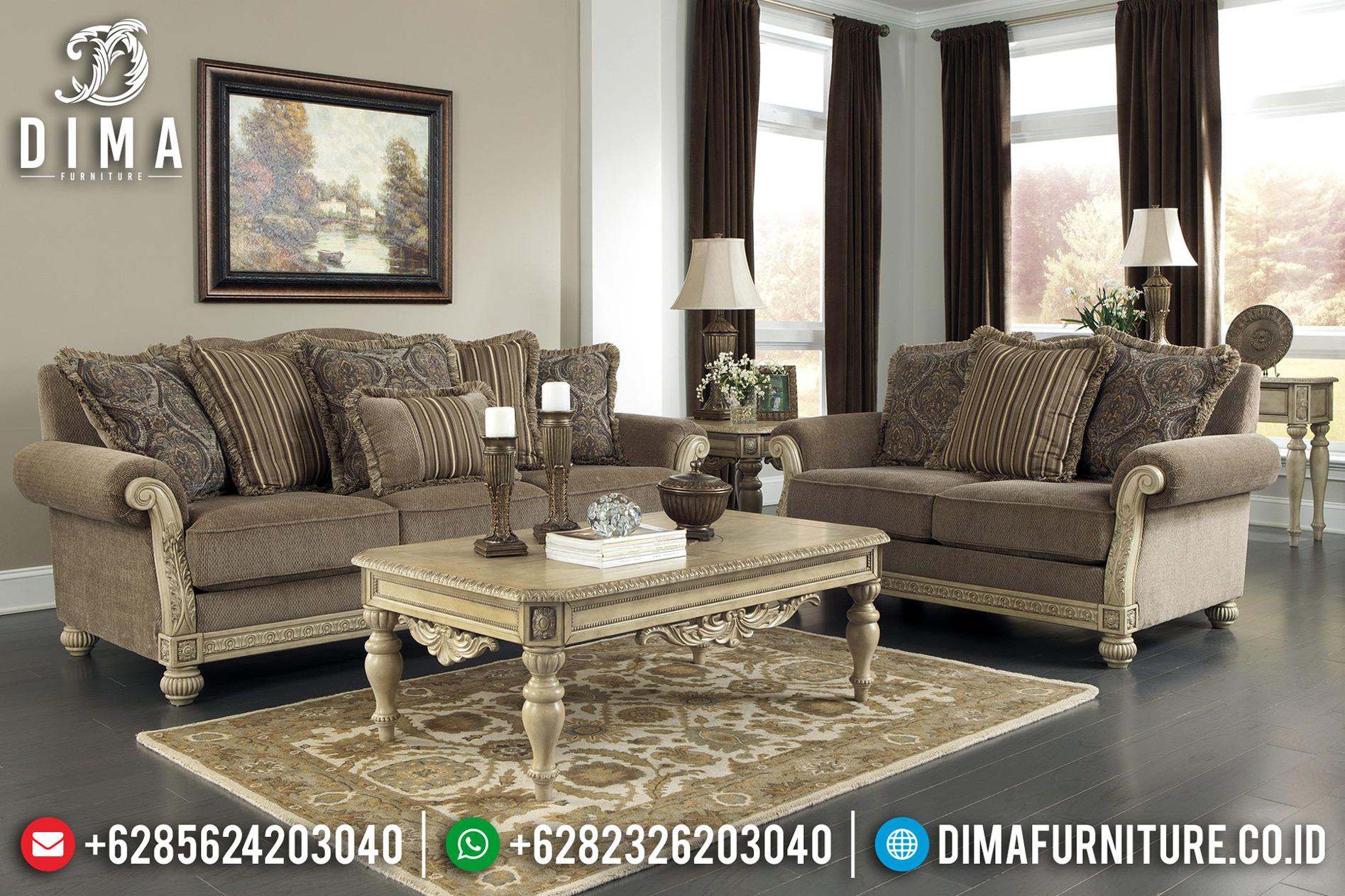 Harga Sofa Tamu Minimalis White Duco Ivory Luxury Classic Carving BT-0638