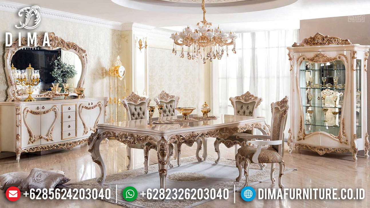 New Model Meja Makan Mewah Jepara Golden Relief Luxurious BT-0589