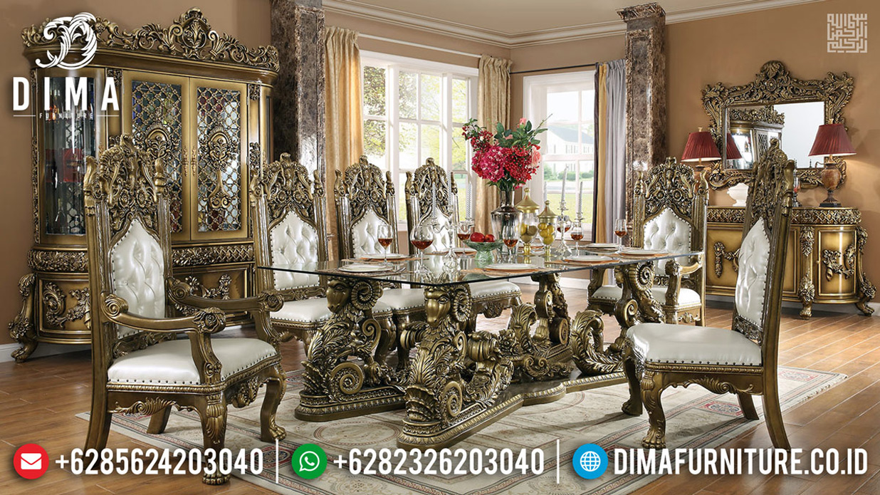 Set Kursi Meja Makan Mewah Luxury Carving Jepara Golden Shadow Combination BT-0616