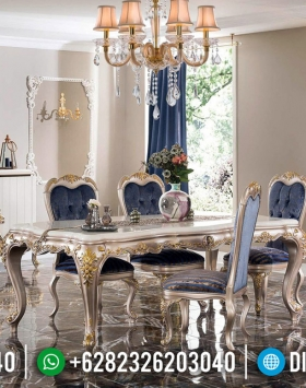 Set Meja Makan Mewah Champagne Golden Combine Color Luxury Jepara BT-0583
