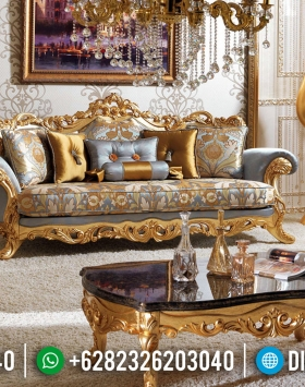 Set Sofa Tamu Jepara Golden Relief Carving Luxury Classic Best Seller BT-0597