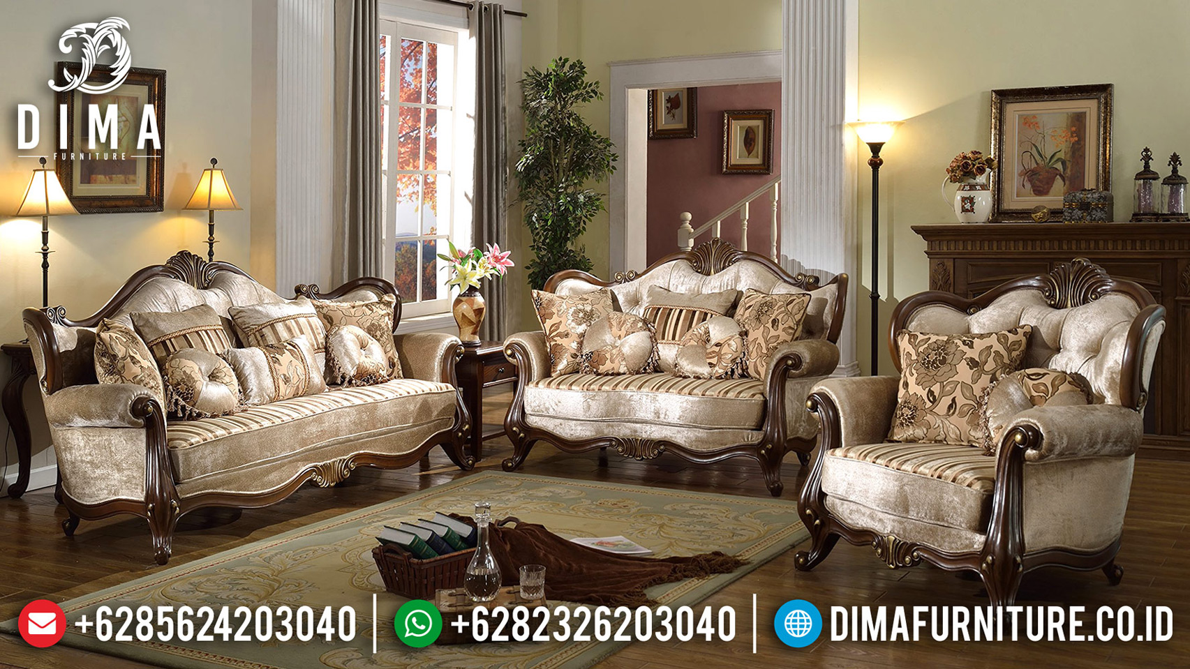 Desain Ruang Tamu Sofa Mewah Ukiran Jepara Luxury Style Classic Furniture BT-0648