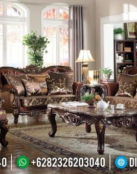 Sofa Tamu Mewah Jati Klasik Antique Natural Kombinasi Luxury Carving Jepara BT-0646