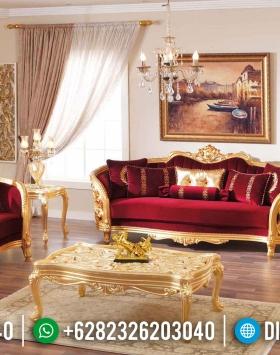Jual Kursi Sofa Tamu Jepara Mewah Klasik Duco Emas Jok Merah BT-0002