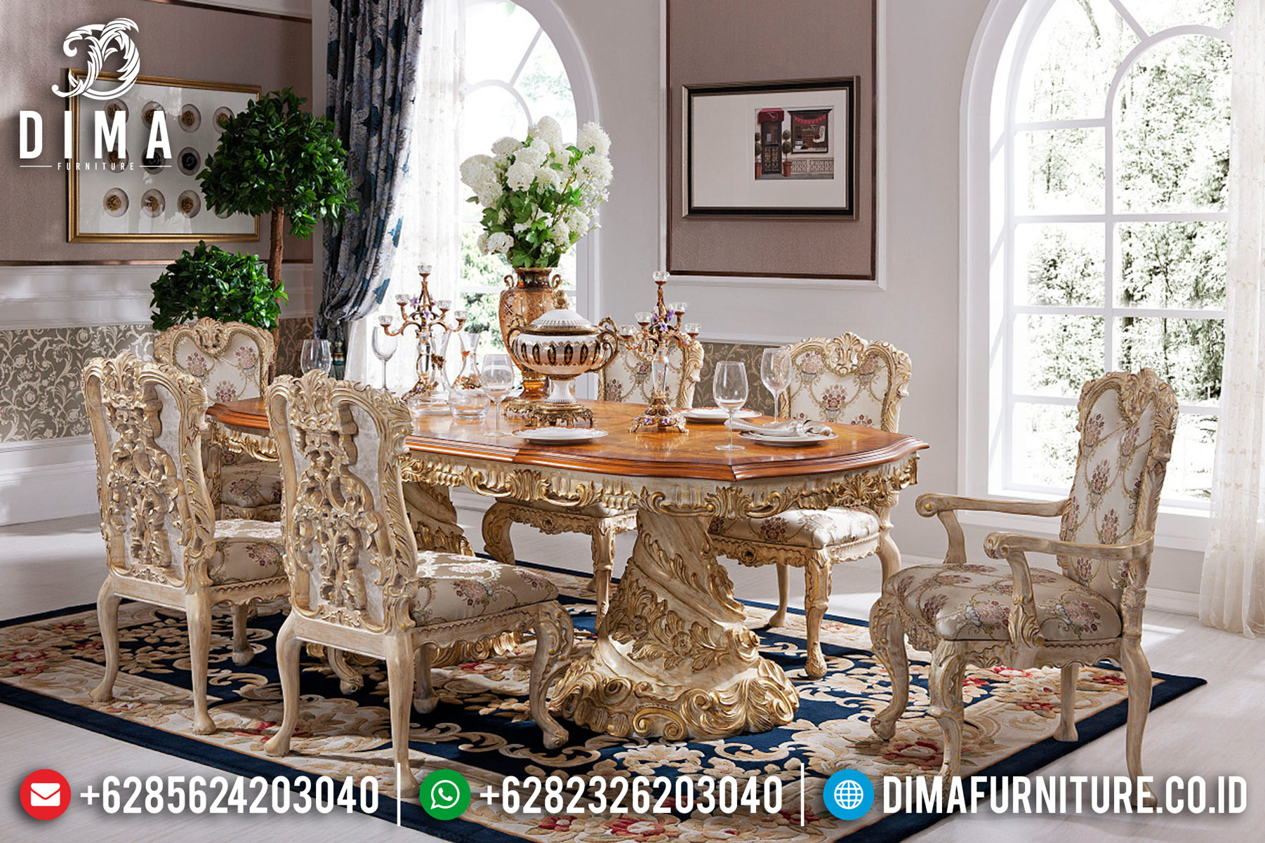 Jual Meja Makan Jepara, Kursi Makan Jepara Mewah, Meja Makan Ukiran Klasik BT-0018