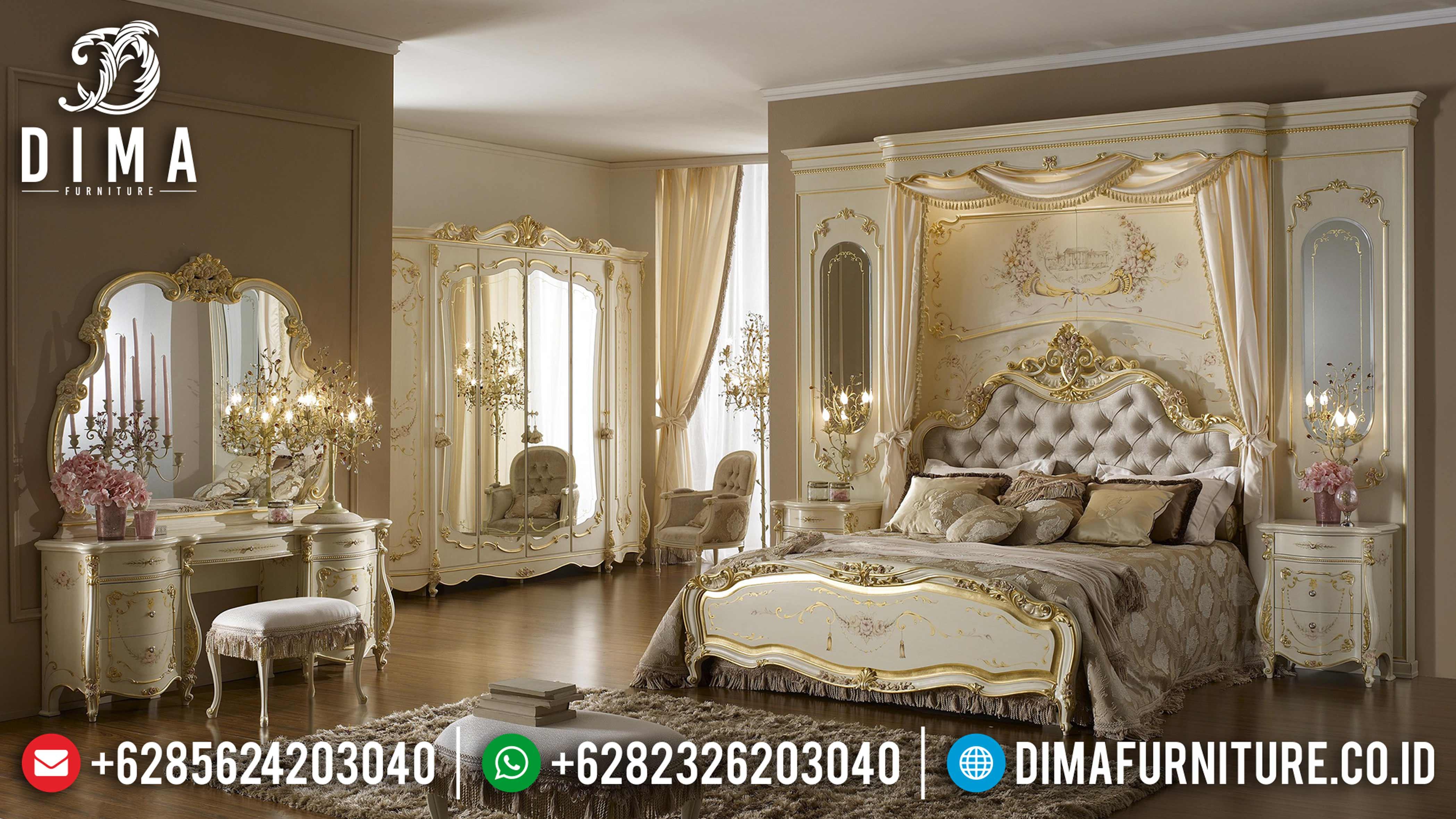Model Monalisa Set Tempat Tidur Jepara Mewah Klasik Duco Ivory BT-0022