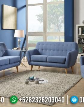 Sofa Tamu Minimalis Jepara Biru Bludru