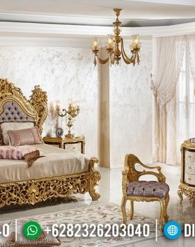 Super Mewah Set Tempat Tidur Jepara Full Ukiran Klasik Mewah Gold Leaf BT-0025