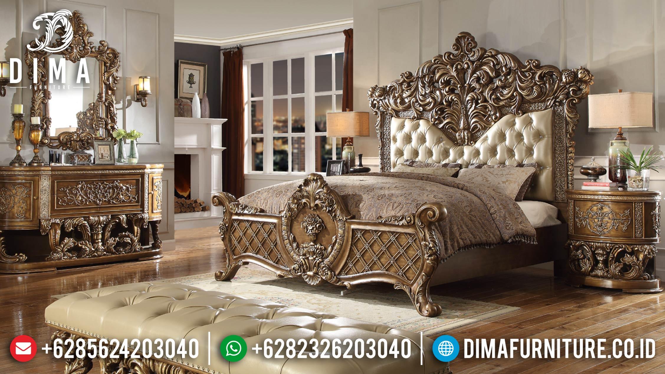 Tempat Tidur Mewah Jepara Ukiran Klasik Duco Emas BT-0038