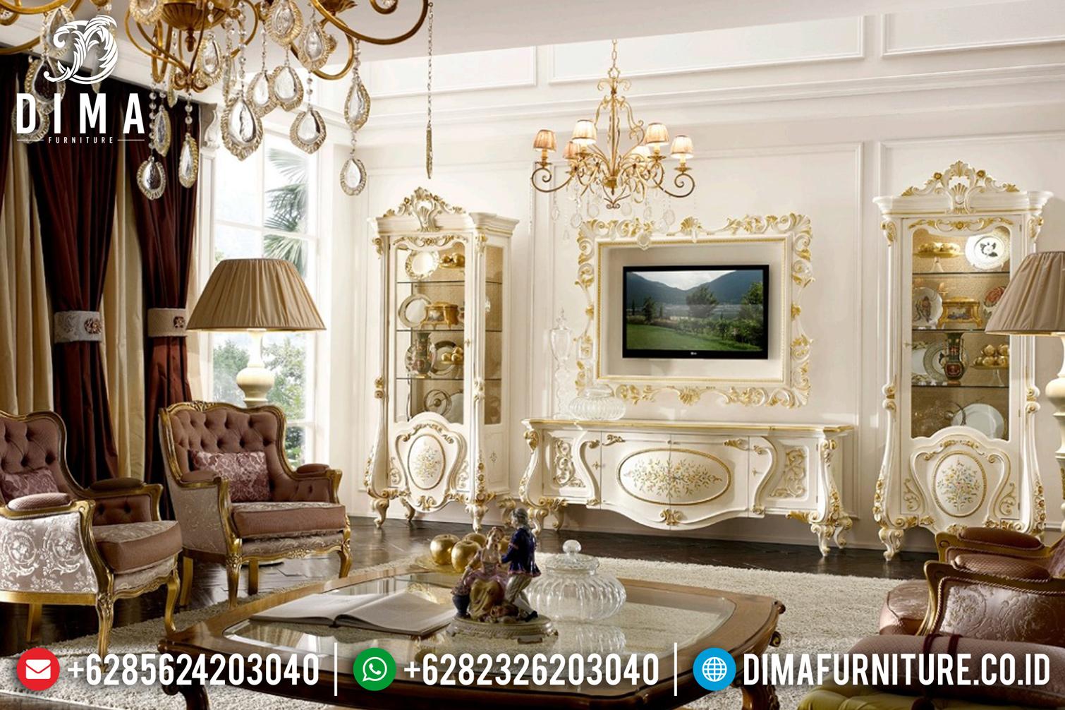 Bufet TV Mewah Jepara Duco Putih Emas Ukir Klasik BT-0116
