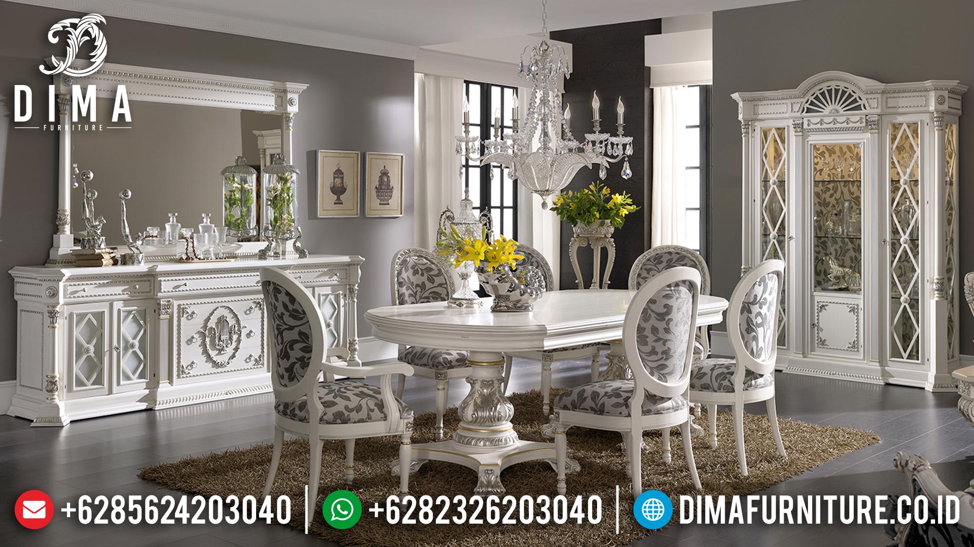 Harga Set Meja Makan Jepara Mewah Duco Putih Silver BT-0151
