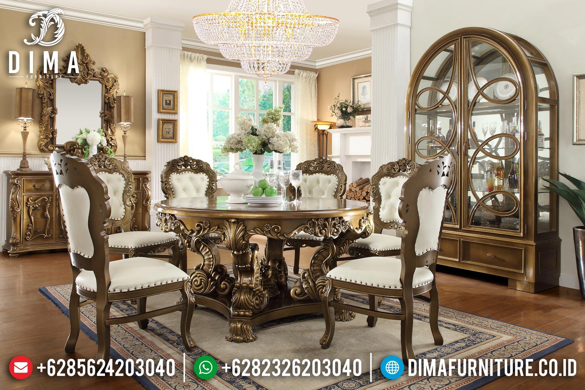 Jual Meja Makan Mewah Jepara Duco Classic Gold BT-0145