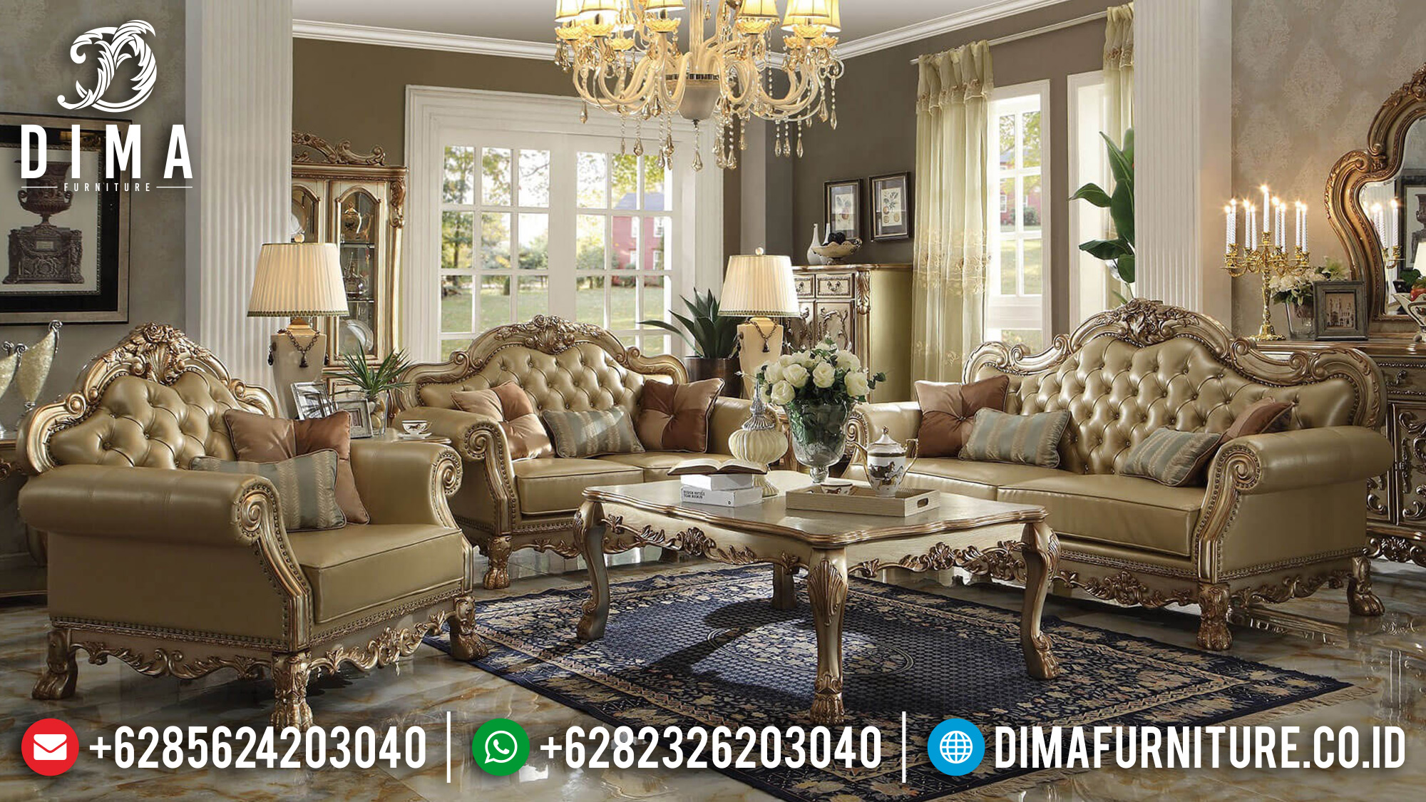Jual Sofa Tamu Jepara Ukiran Mewah Gold Duco BT-0107