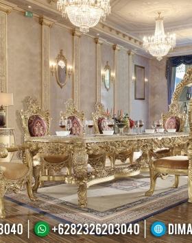 Luxury Ukiran Klasik Meja Makan Jepara Mewah Gold Leaf BT-0147