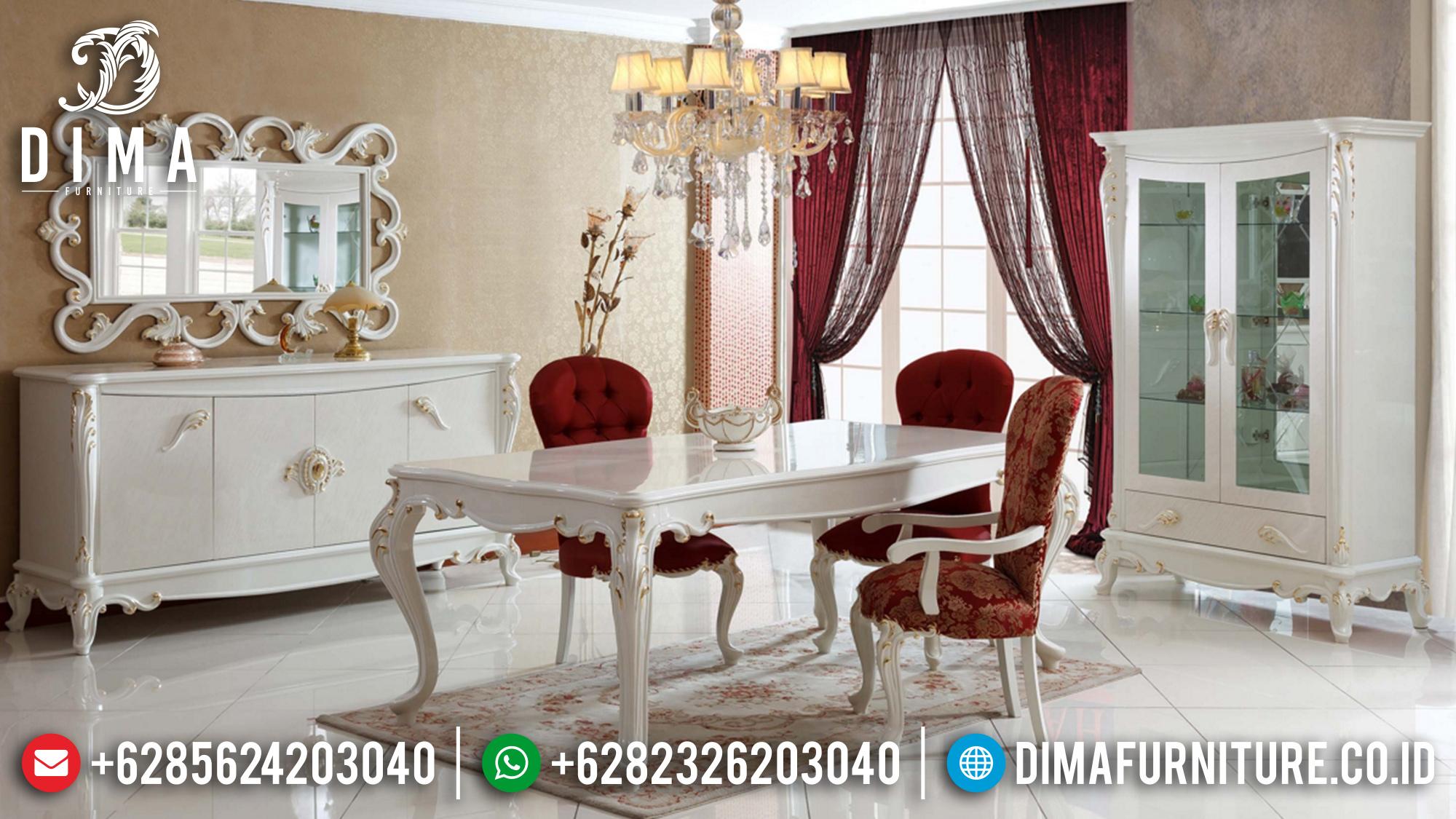 Meja Makan Jepara Mewah Duco Putih Jok Merah BT-0149