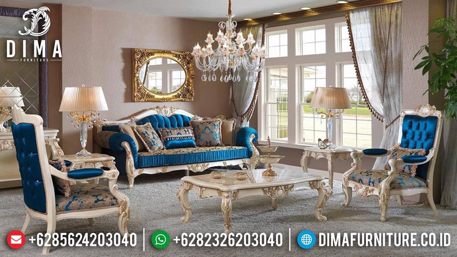 Sofa Tamu Mewah Ukiran Jepara Koltuk Duco Putih BT-0095