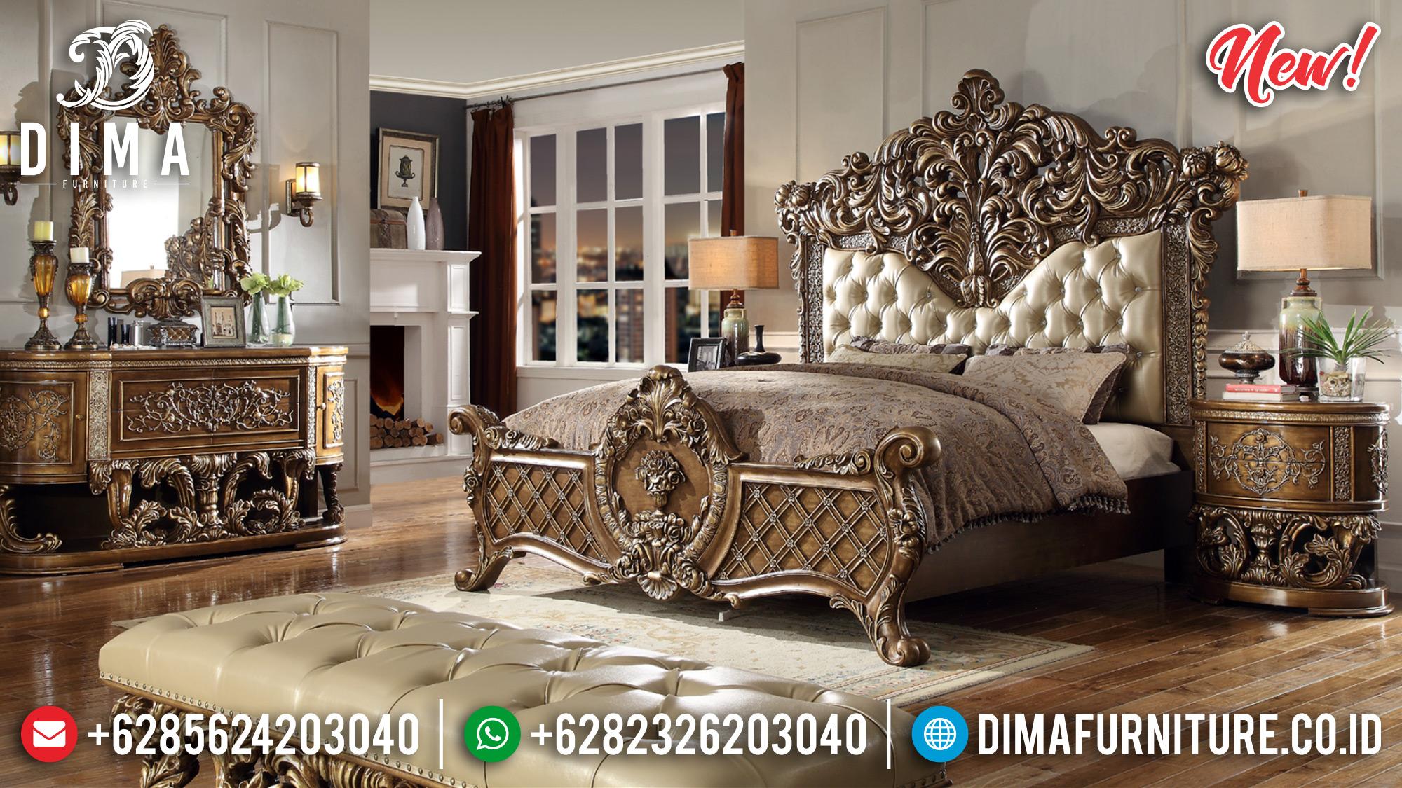 Jual Tempat Tidur Ukiran Mewah Warna Gold Glossy BT-0174