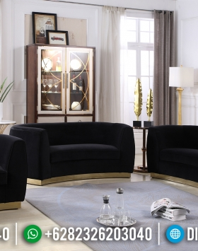 Set Sofa Tamu Minimalis Black Velvet BT-0181
