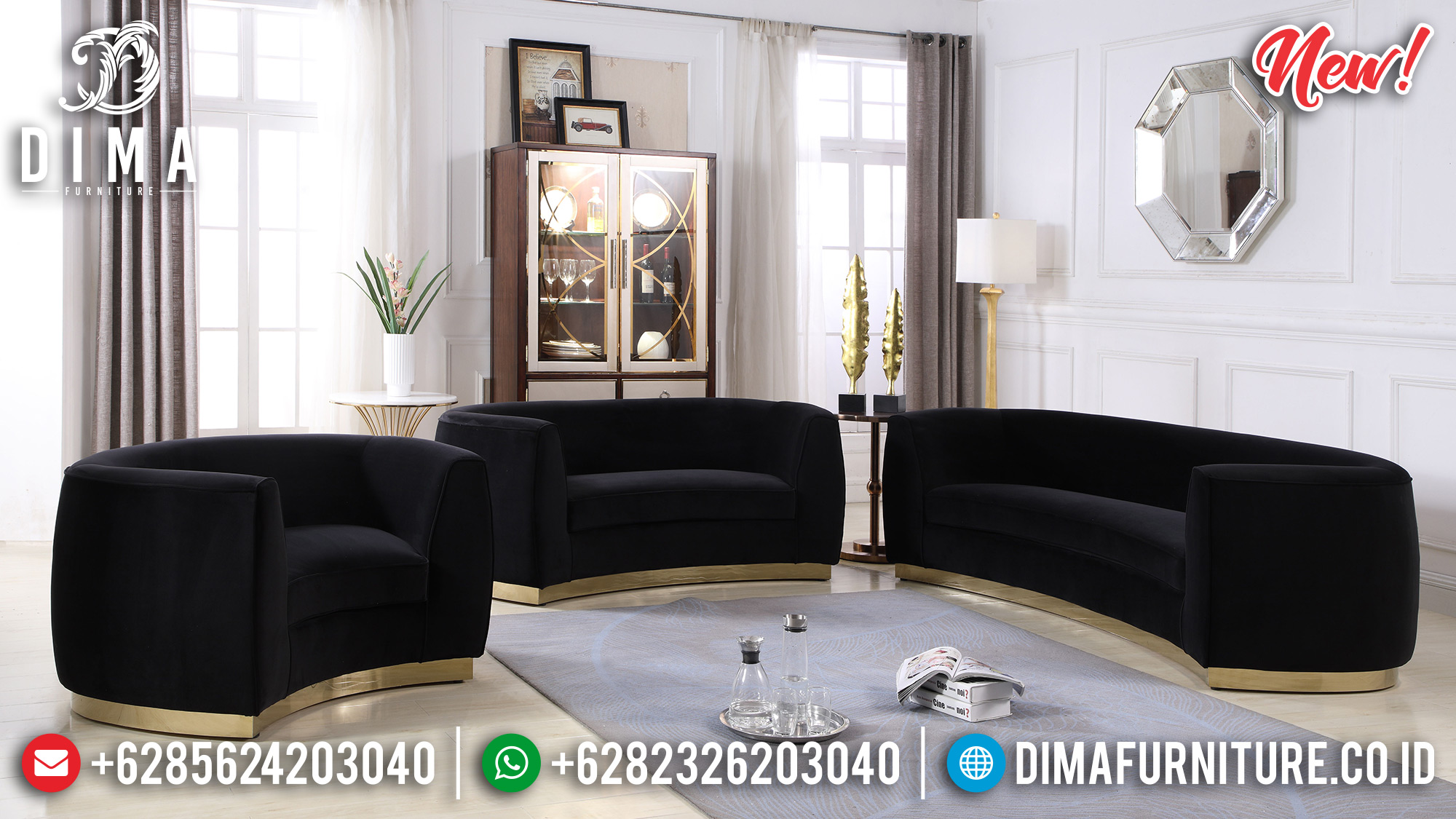 Set Sofa Tamu Minimalis Black Velvet BT-0181