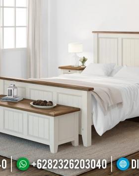 Set Tempat Tidur Jepara Minimalis Kombinasi Putih Natural BT-0186
