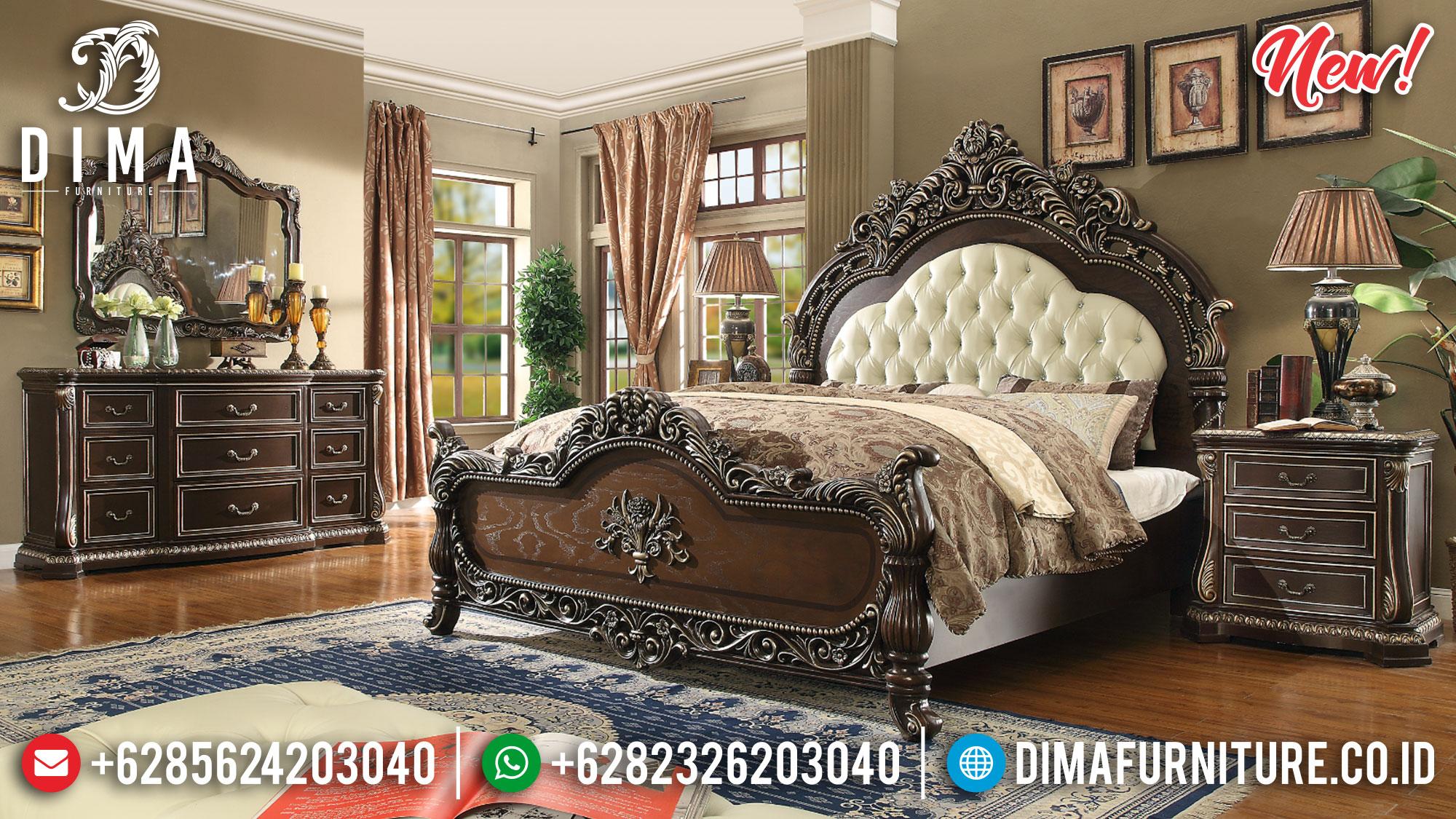 Set Tempat Tidur Jepara Ukiran Classic Natural Silver BT-0191