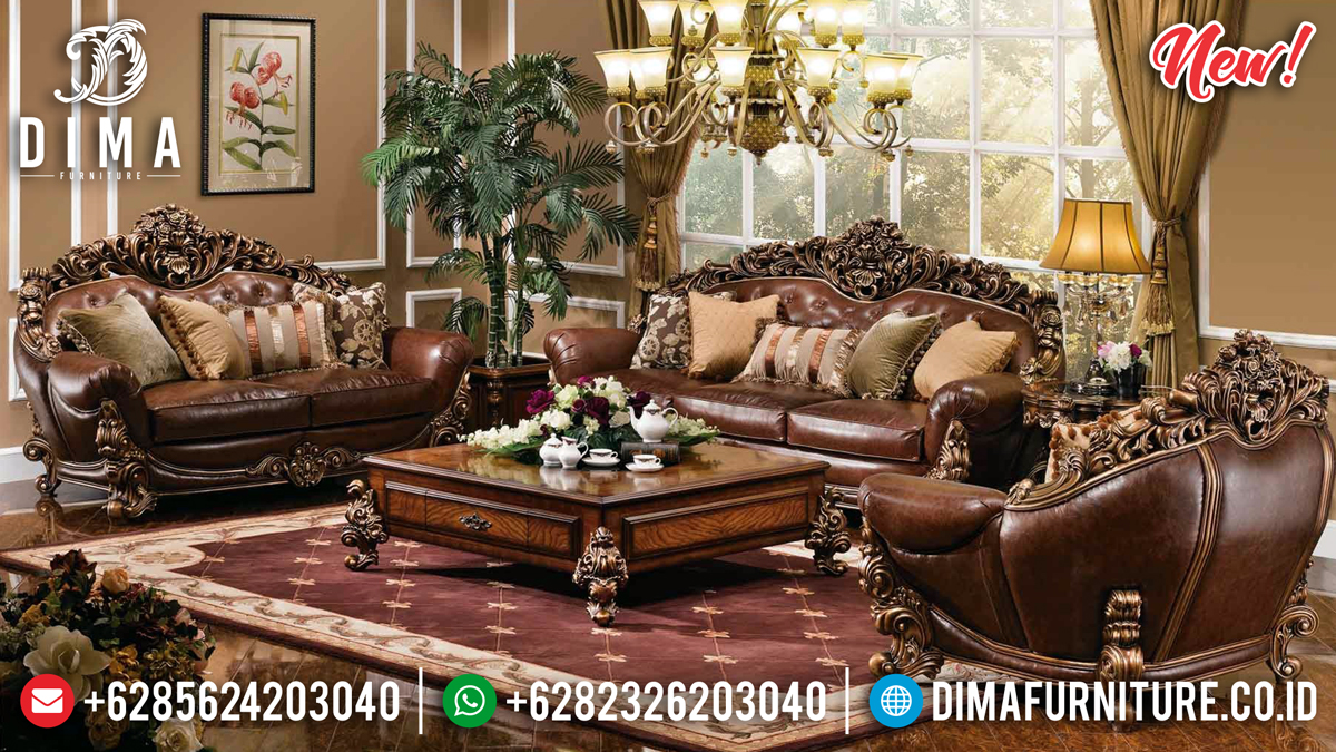 Desain Luxury Set Sofa Tamu Mewah Jepara Full Ukiran 3D Natural Jati BT-0282