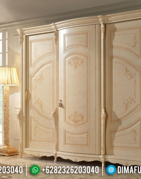 Jual Lemari Pakaian Mewah Duco Ivory Mebel Jepara Luxury BT-0285