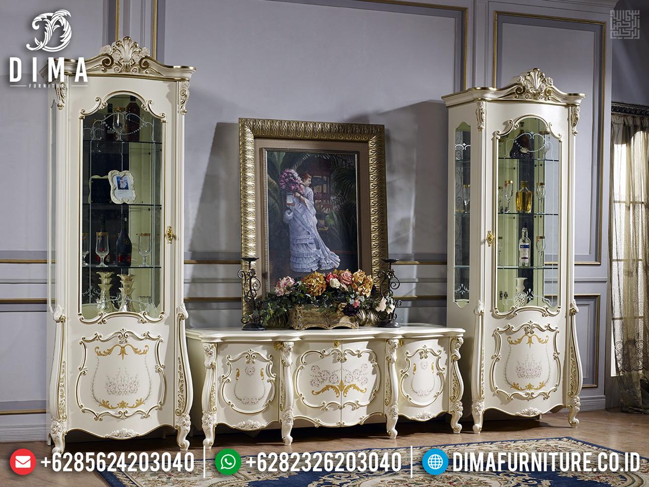 Set Bufet TV Ukir Mewah Putih Duco Terbaru Romania BT-0343