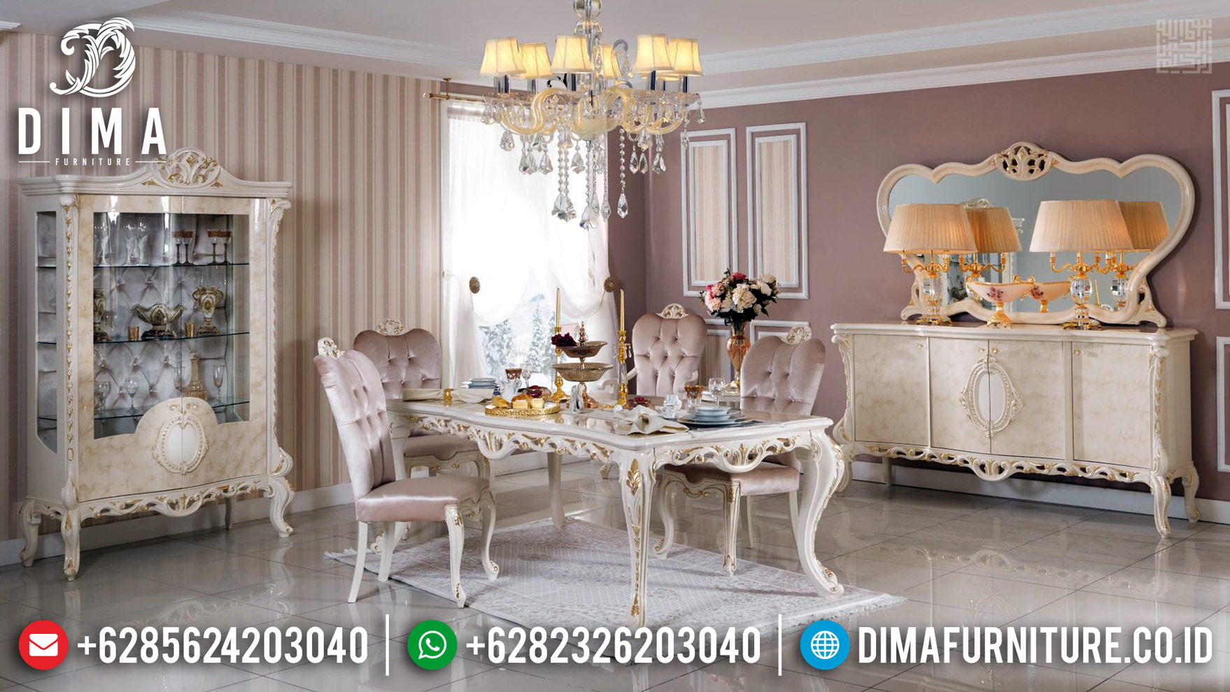 Furniture Jepara Luxury Classic Meja Makan Mewah New Design 2020 BT-0373