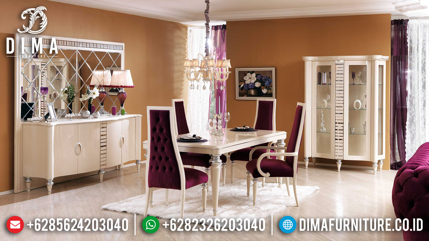 Furniture Jepara Set Meja Makan Mewah 4 Kursi Luxury Modern Bt-0378