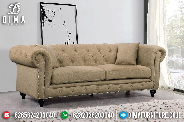Furniture Jepara Sofa tamu Chesterfield Minimalis Cream Canvas Fabric BT-0438
