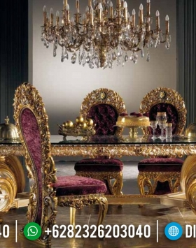 Jual Meja Makan Mewah Golden Diamond Limited Edition Furniture Jepara Luxury BT-0417