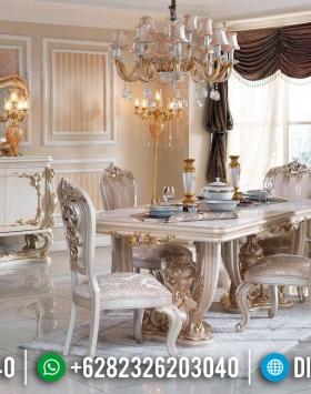 Meja Makan Mewah Whitney Luxury Carving Duco Color BT-0418