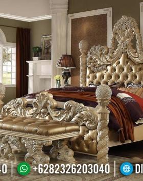 New Design 2020 Tempat Tidur Mewah Gold Duco Luxury Carving Jepara BT-0397