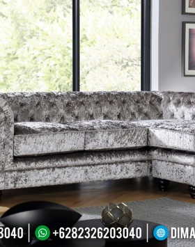 New Design Sofa Tamu Chesterfield Beludru Silver Diamond Furniture Jepara BT-0436